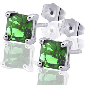Other - COOL 9K White Gold Filled Green Square CZ Studs